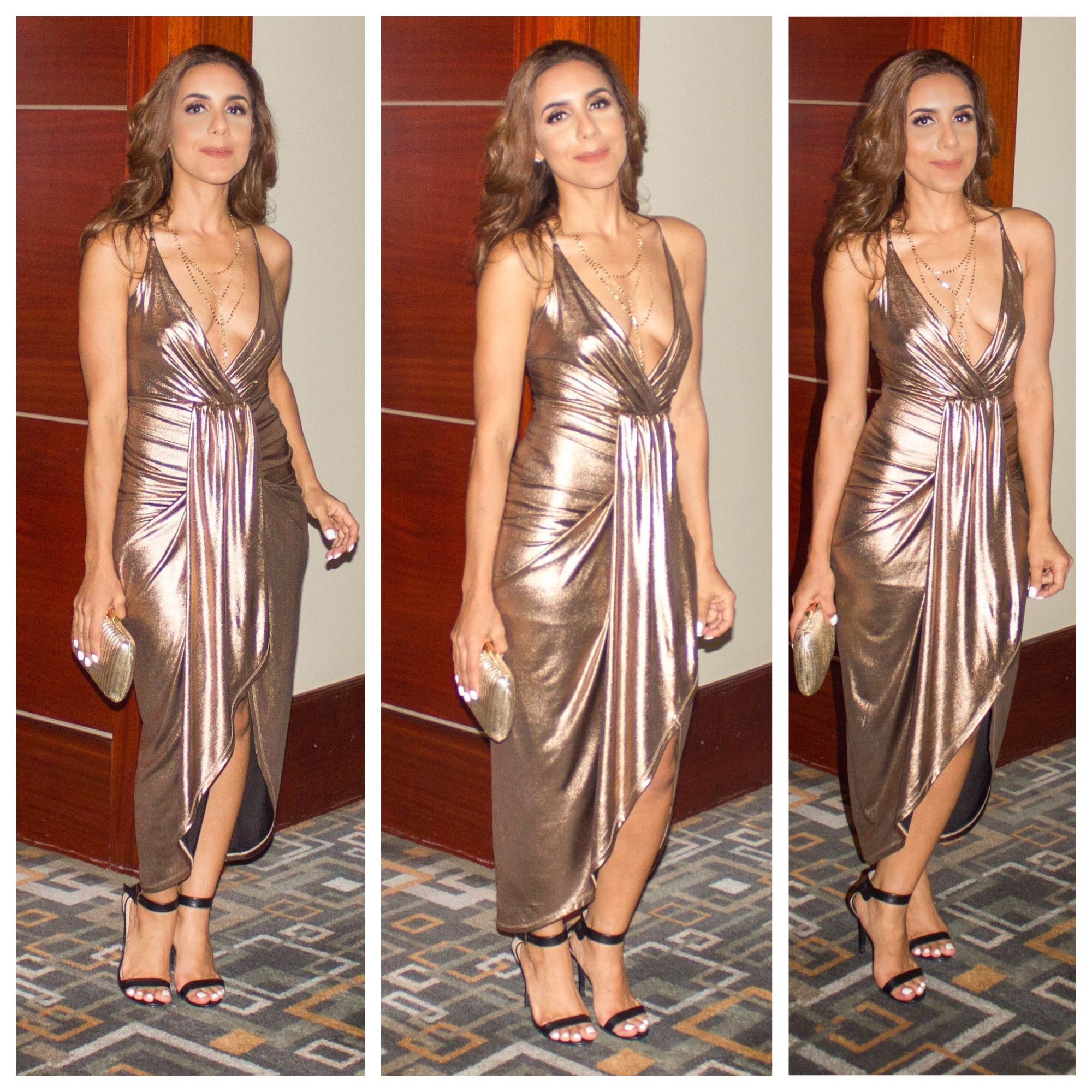 Long open front gold bronze goddess dress red carpet look what i