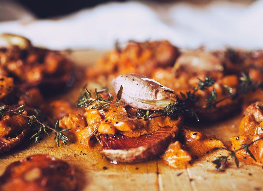 spicy roasted mushrooms