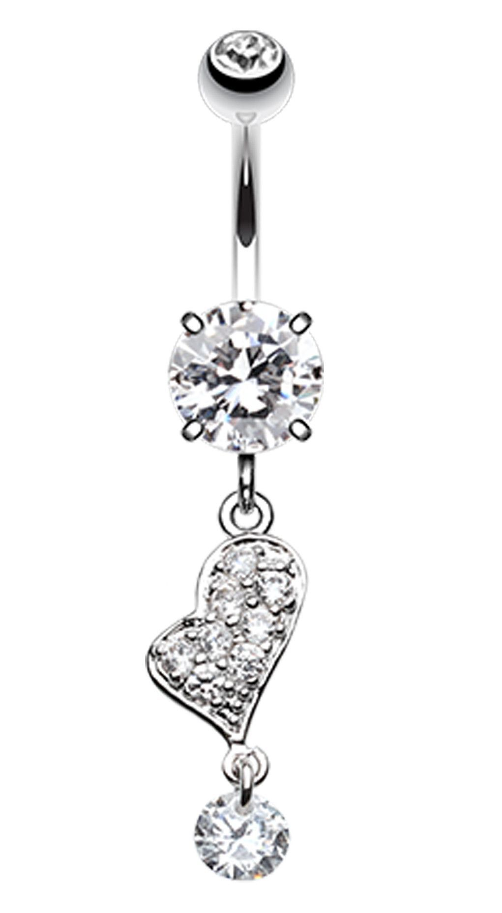 Belly button piercing without jewelry  GlassGemed Heart Belly Button Ring  Belly button and Products
