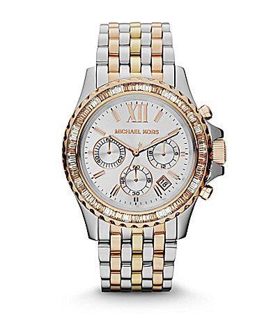 Michael Kors Ladies Everest TriTone Chronograph Watch #Dillards
