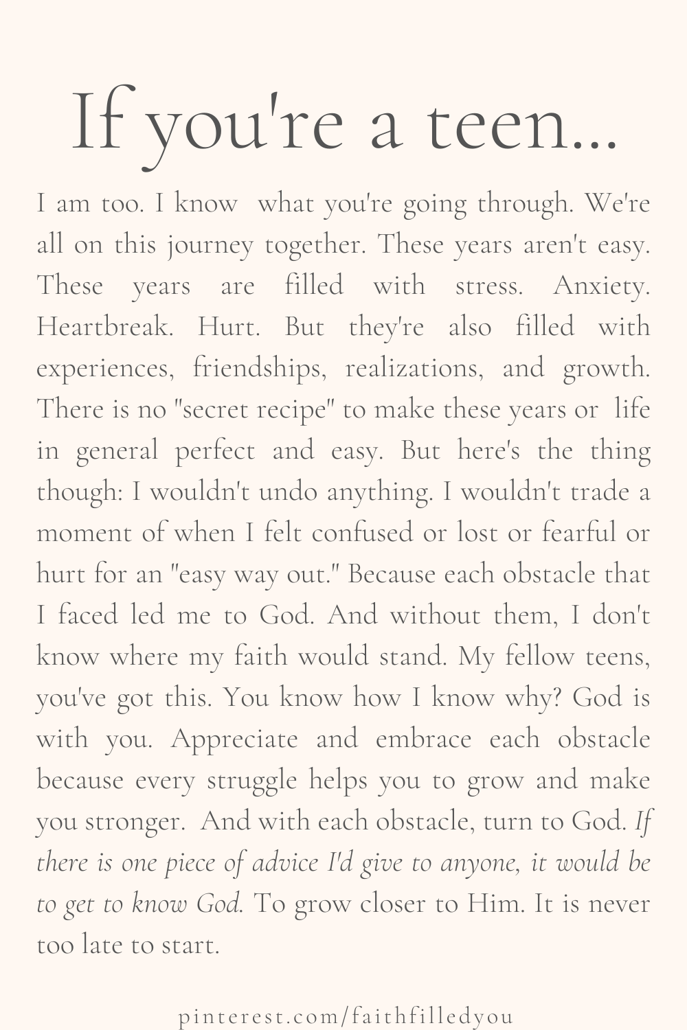 Faith Quote / Message To Teens About Life