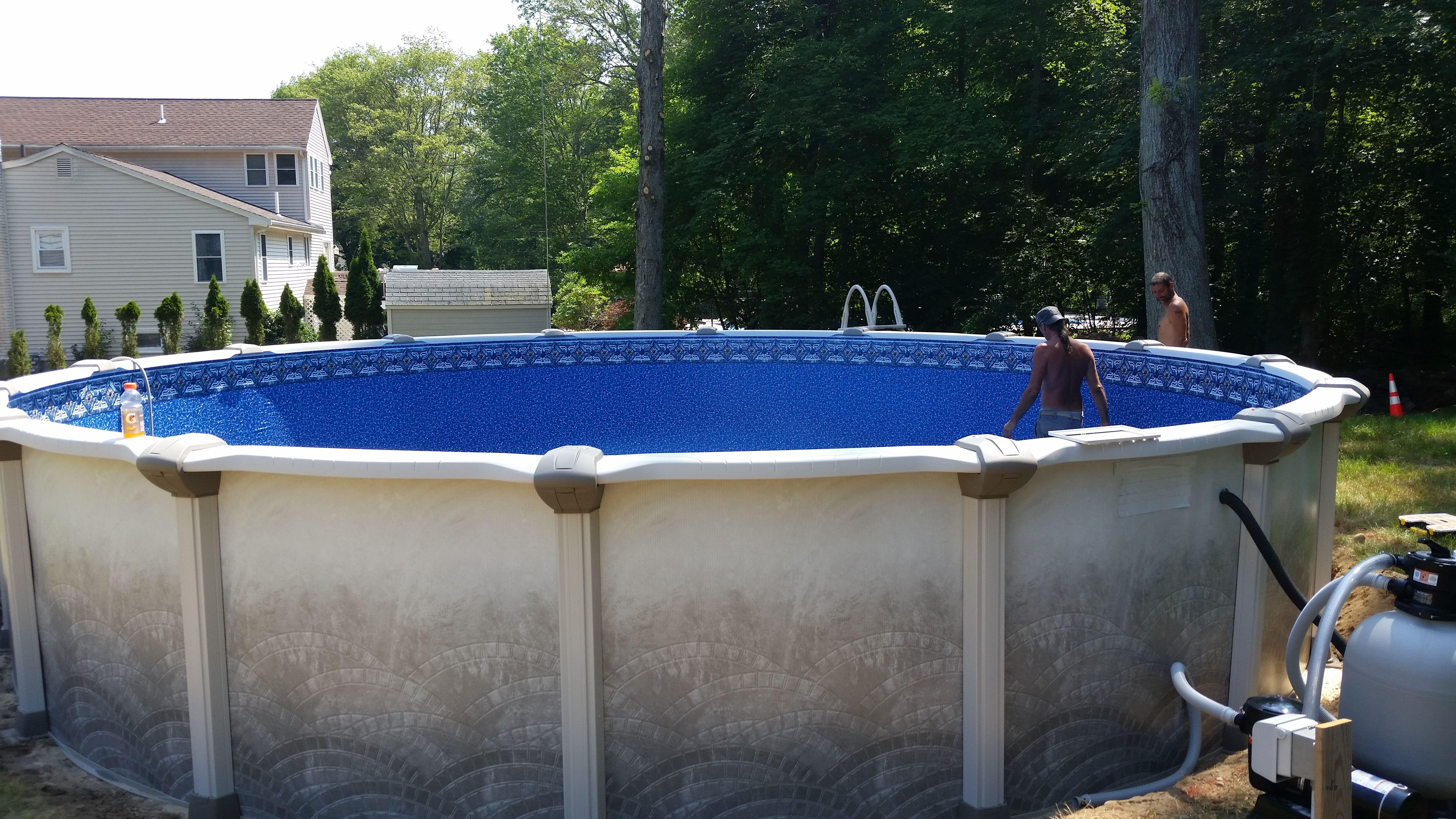 Mission hybrid above ground swimming pool.   Swimming pool liners, Install  pool liner, Above ground pool decks