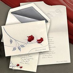 Silver And Red Wedding Invitations