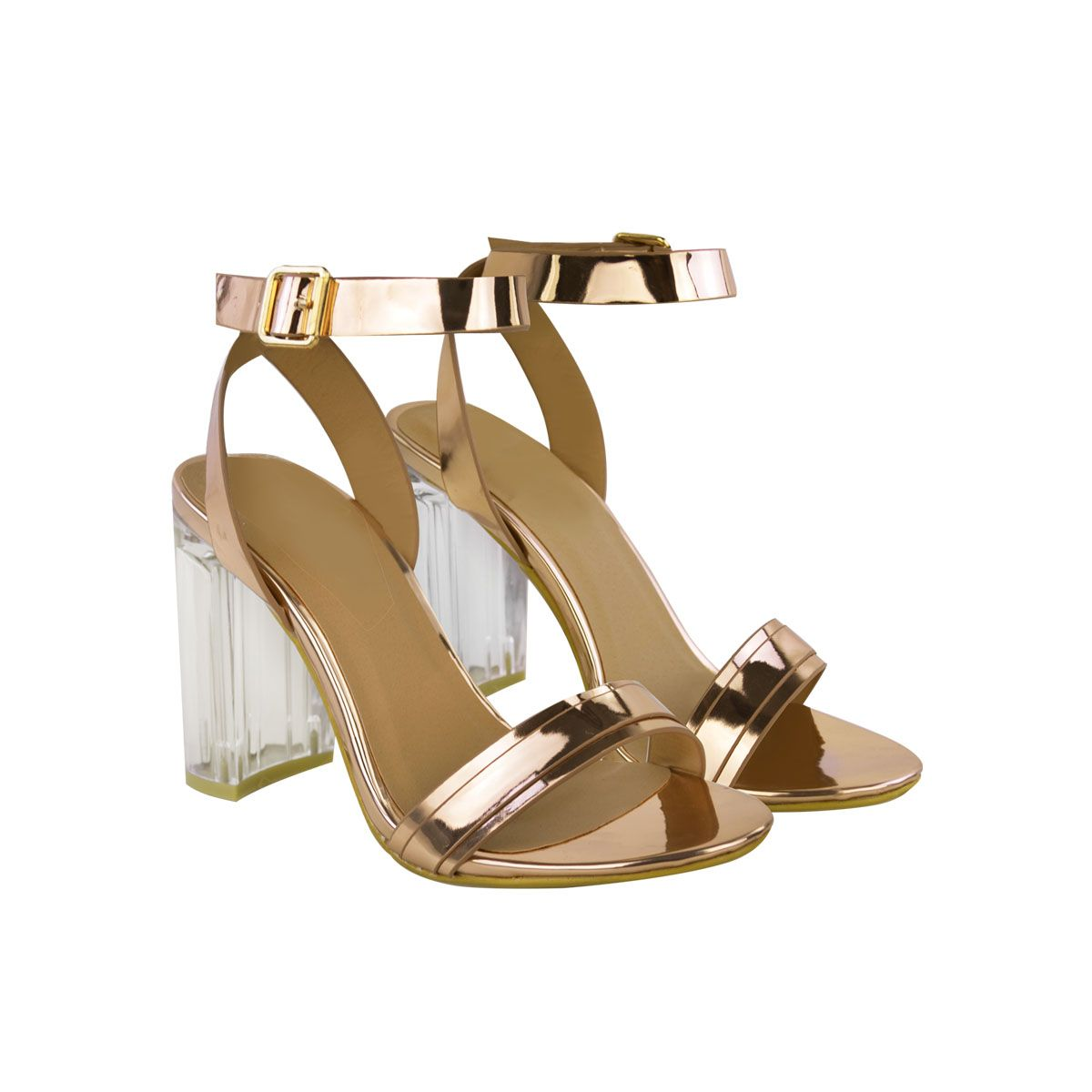 3e029990a46 Rose Gold Metallic Clear Perspex Block High Heel Clear Straps Open Toe  Sandals…