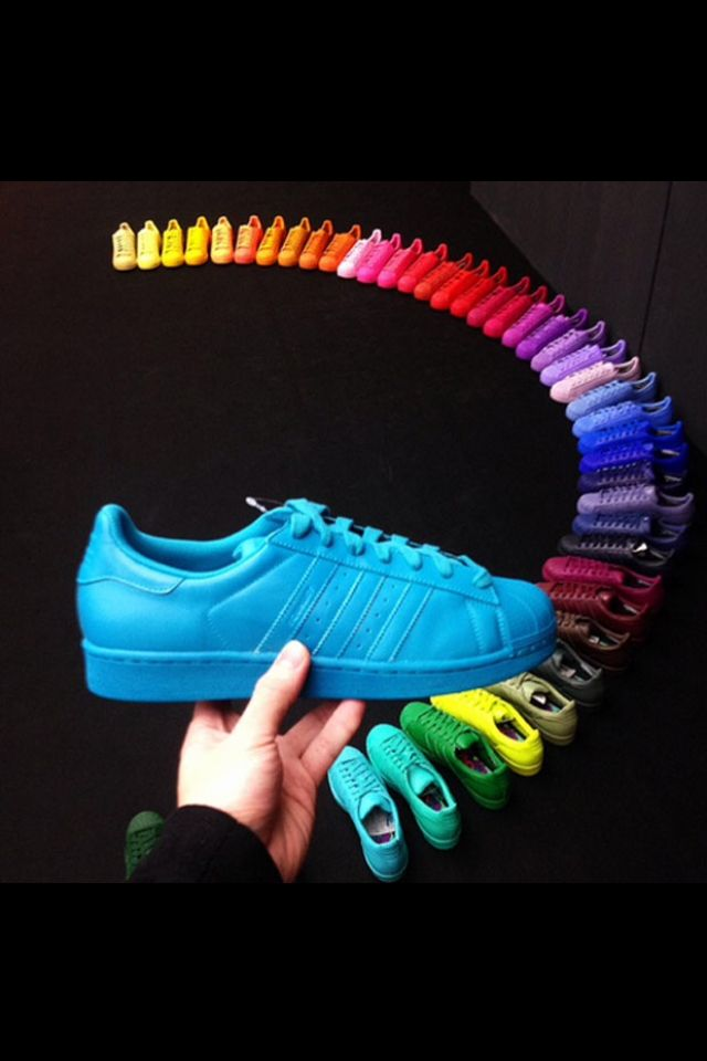 pharrell williams x adidas love the yellow,red,blue and pink