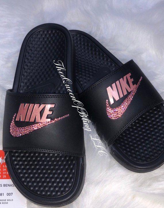 new product ef774 bf15f Nike Benassi Slides crystalized nike slides swarvoski nike   Etsy