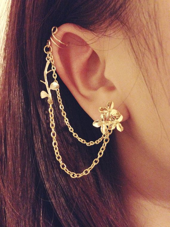 61f10b89d Gold daisy bouqet branch leaves studs with double chain ear cuff, ear stud,  double piercing, clip on on Etsy, $12.50