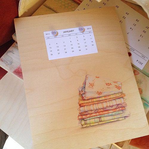 2014 calendrier.  Dessiné à partir de tissu la cachette de Bonne Coudre chance!