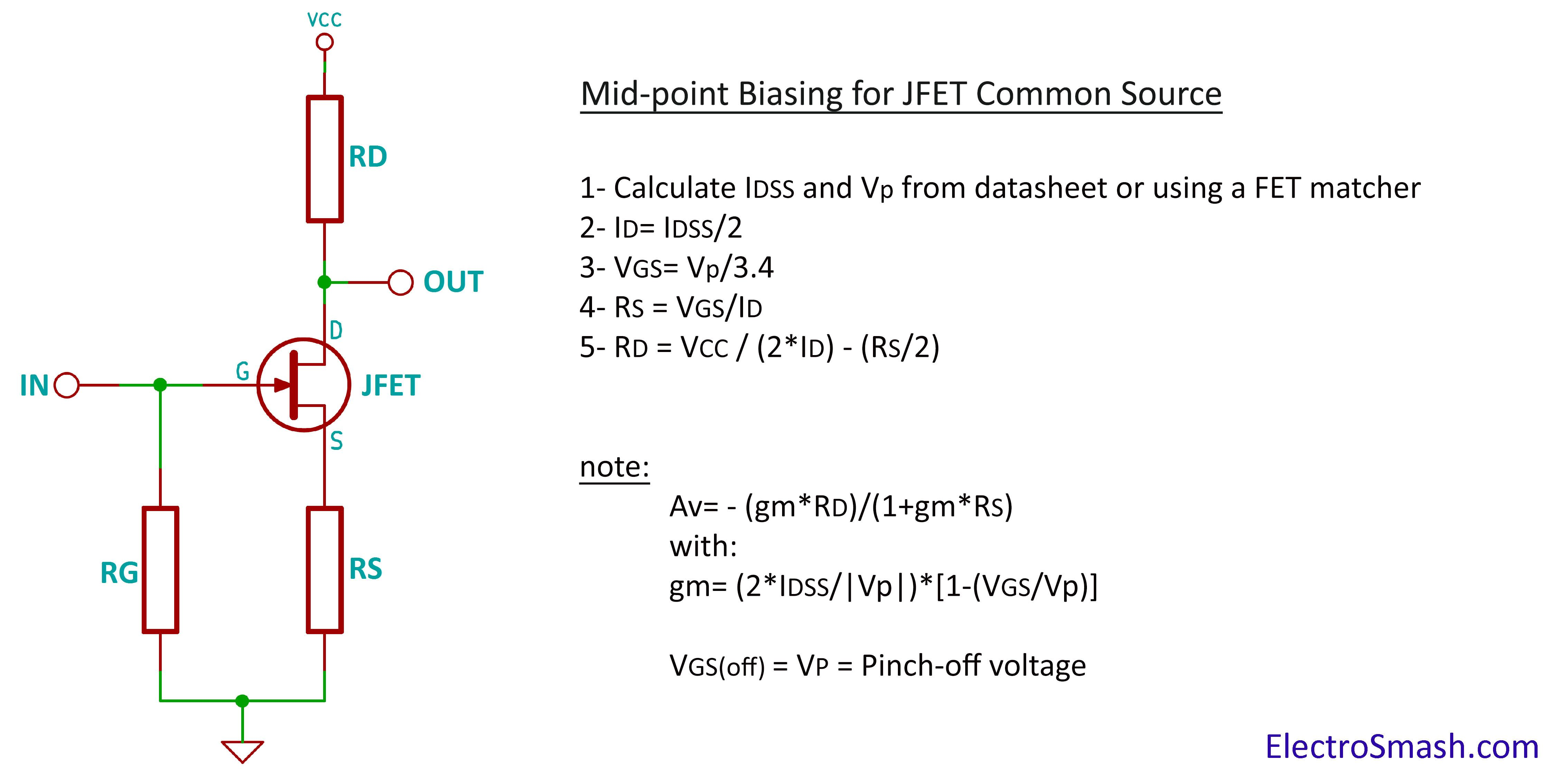 Jfet Amplifier Calculation Parameters Guitar In 2018 Pinterest Re Need A Simple Low Power Preamp Circuit For Electret Microphone
