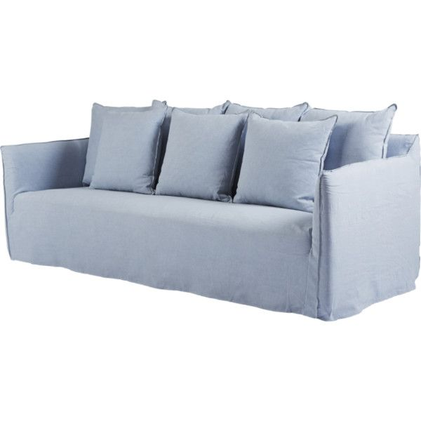 Modern Designer Slipcover Sofa Light Blue Italian Linen Liked On Polyvore Featuring Home Furniture S Sofa Couch Design Light Blue Couches Slipcovered Sofa