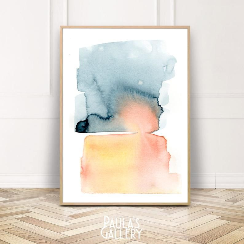 Watercolor Abstract Print Blue Watercolor Wall Art Abstract