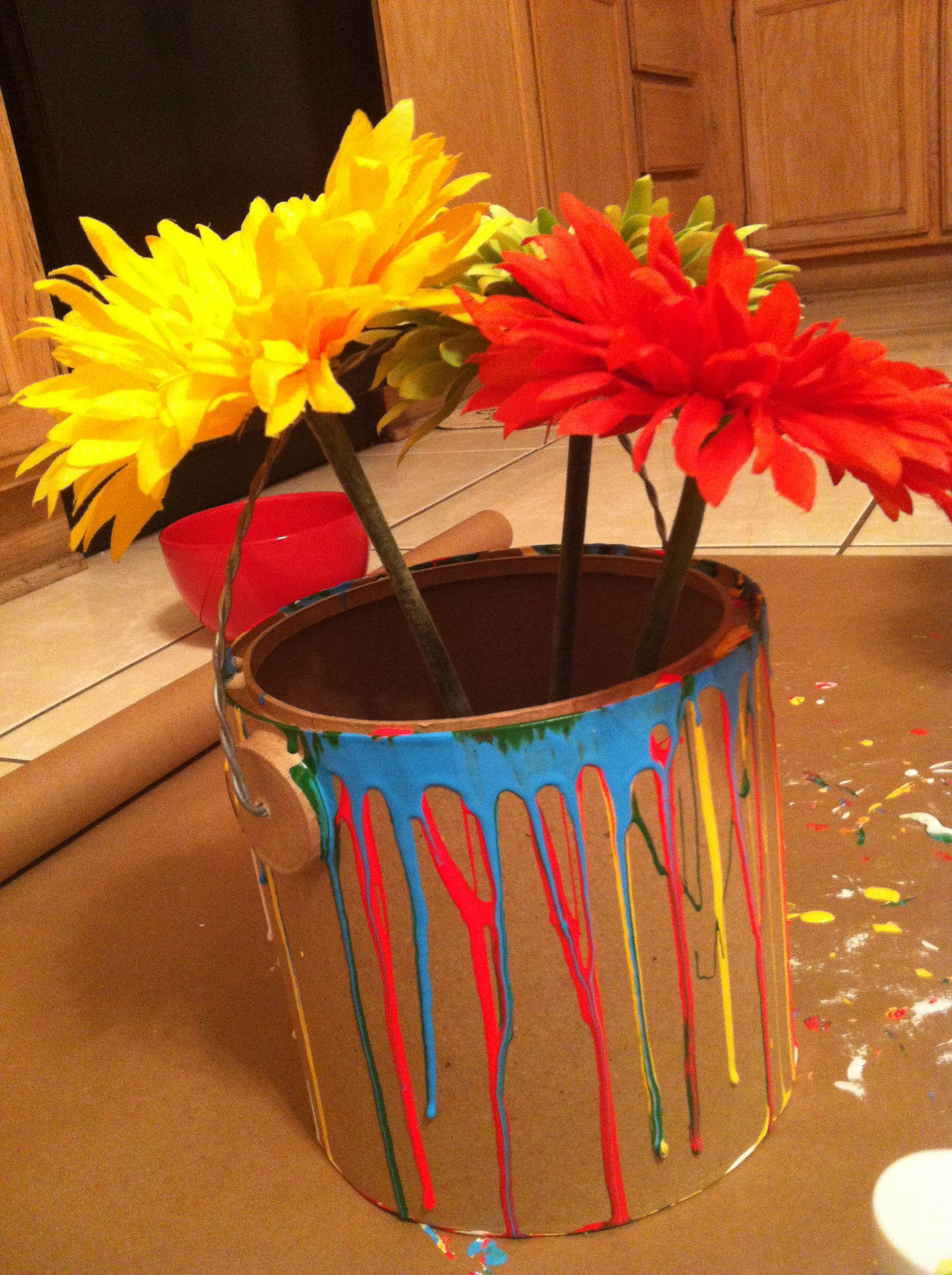 Simple fun flower arrangement cardboard pail paint silk simple fun flower arrangement cardboard pail paint silk flowers mightylinksfo