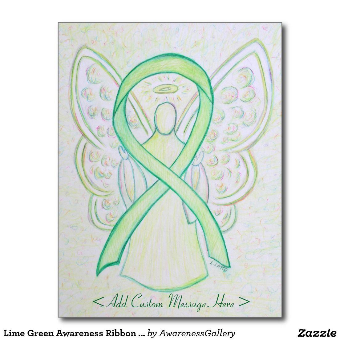 Lime Green Awareness Ribbon Angel Custom Postcard Zazzle