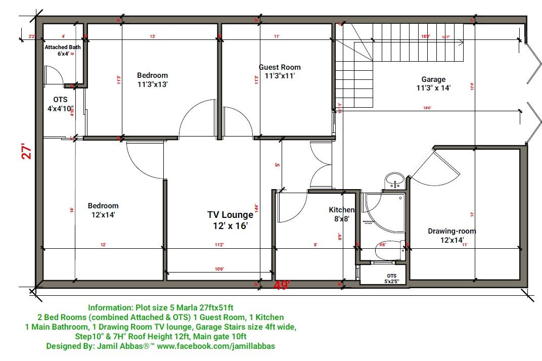 marla house plan designed by jamillabbas gmail also home plane rh pinterest