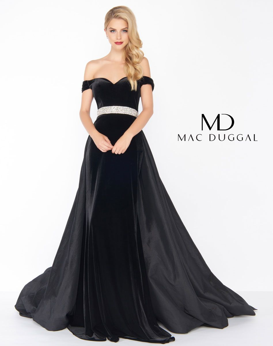 f926cc90e584b 62767R - Mac Duggal Velvet Evening Gown in 2019   Black White Red ...