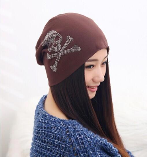 Beanies for Women of Rhinestone Skull Slouchy Hat  typesofhatsforwomen 1a33814528ee
