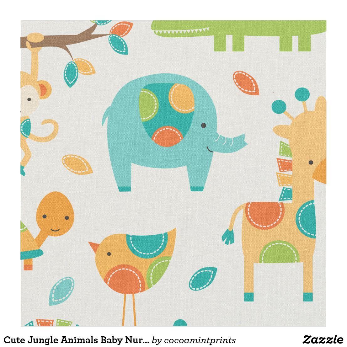 Cute Jungle Animals Baby Nursery Fabric