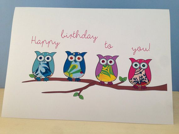 Cute Birthday Card with 4 Owls Novelty Birthday by Deliciousbits – Novelty Birthday Cards