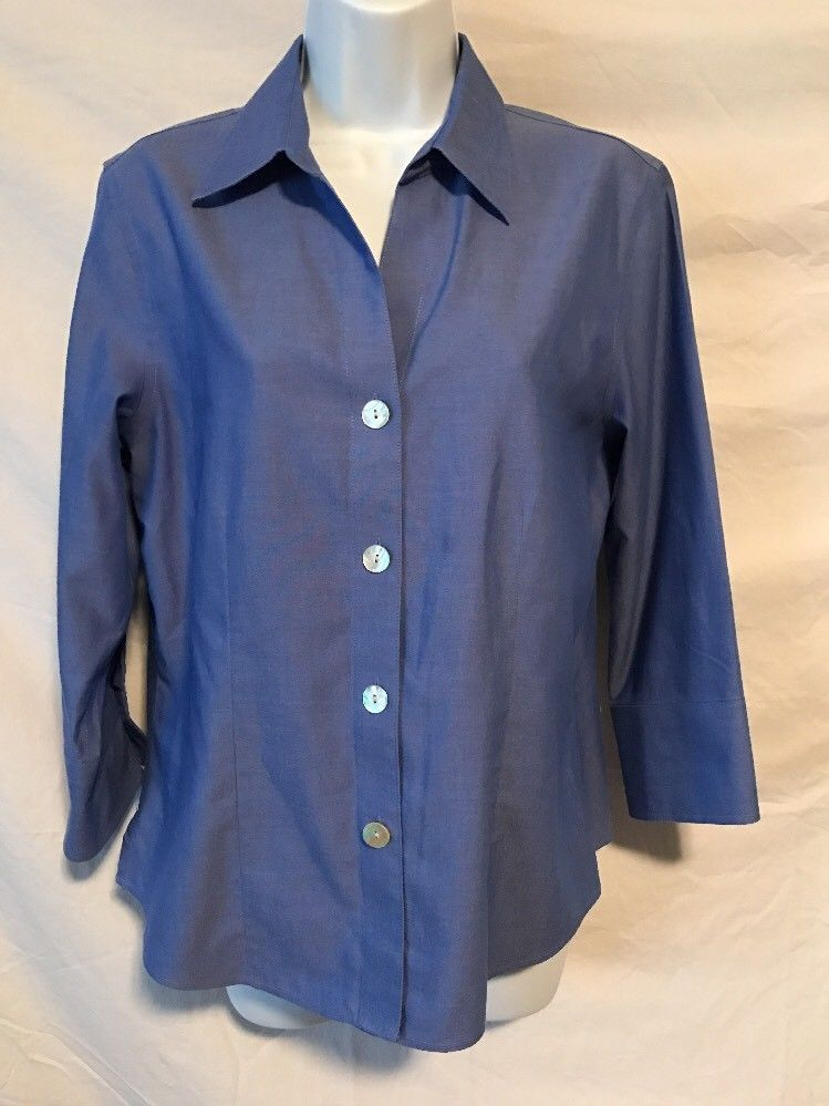 85738f4ba Foxcroft Women 8 Small Med Blue No Iron Fitted Button Down Shirt Career |  eBay