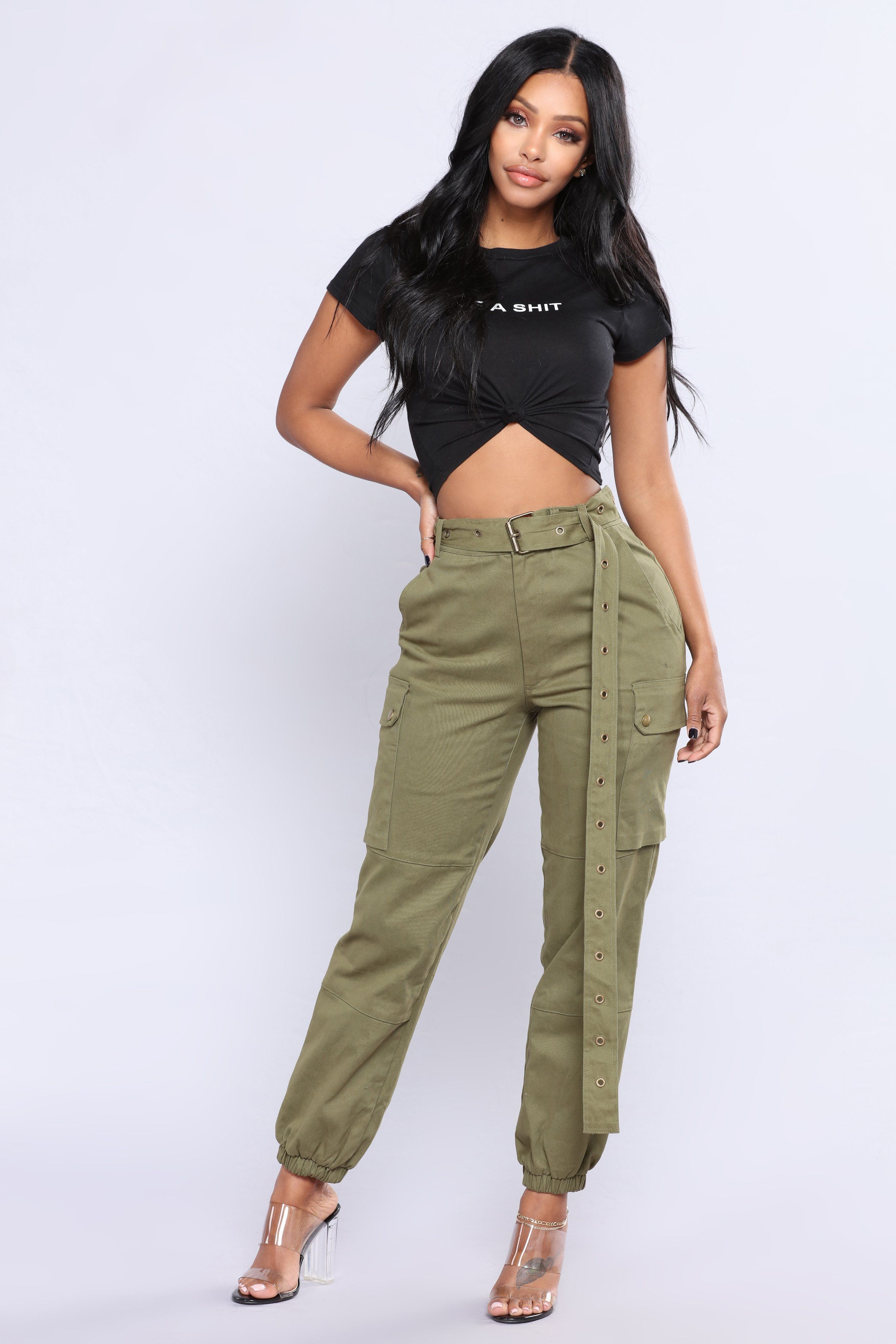 Cargo Chic Pants Olive Pants for women, Fashion