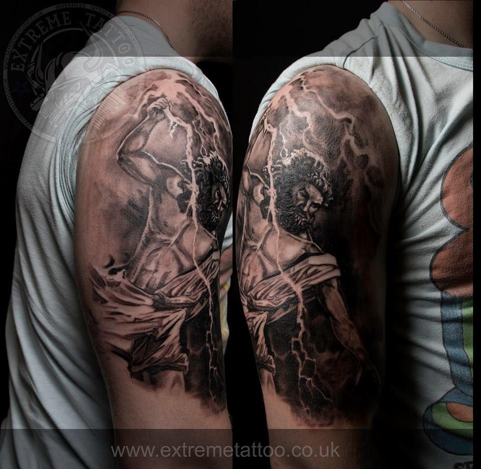 Zeus tattoo done at Extreme Tattoo - Bizeps Tattoo