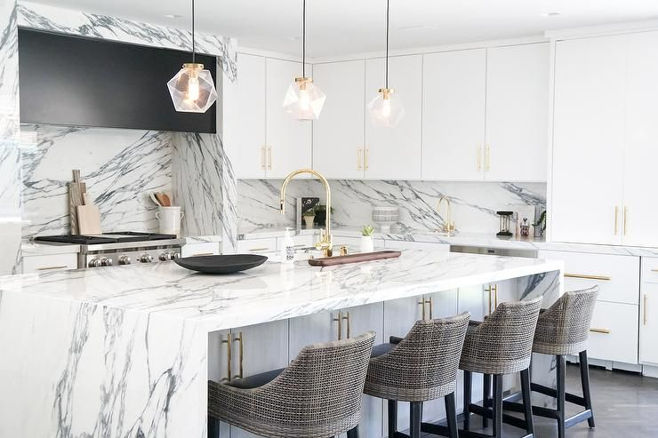 Chic Marble Clad Kitchen Boasts A White Kitchen Island Seating Gray Woven Counter Kitchen Island With Seating Grey Kitchen Island Replacing Kitchen Countertops