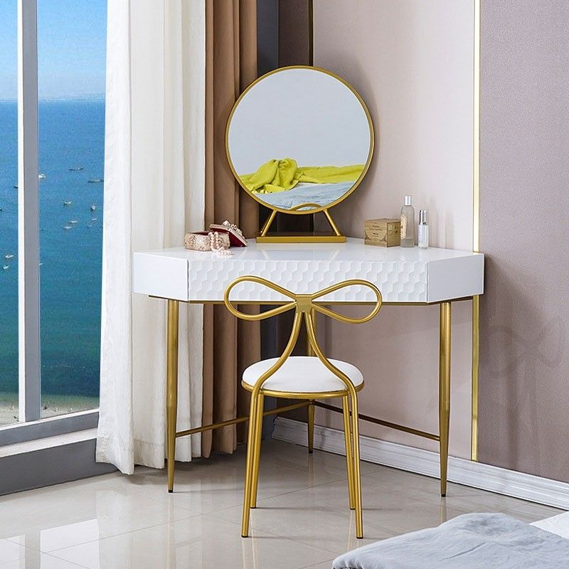 Corner Dressing Vanity Table Set With Drawer Mirror Triangle Corner Desk Chair Included Vanity Table Set Vanity Table Dining Room Chairs Modern