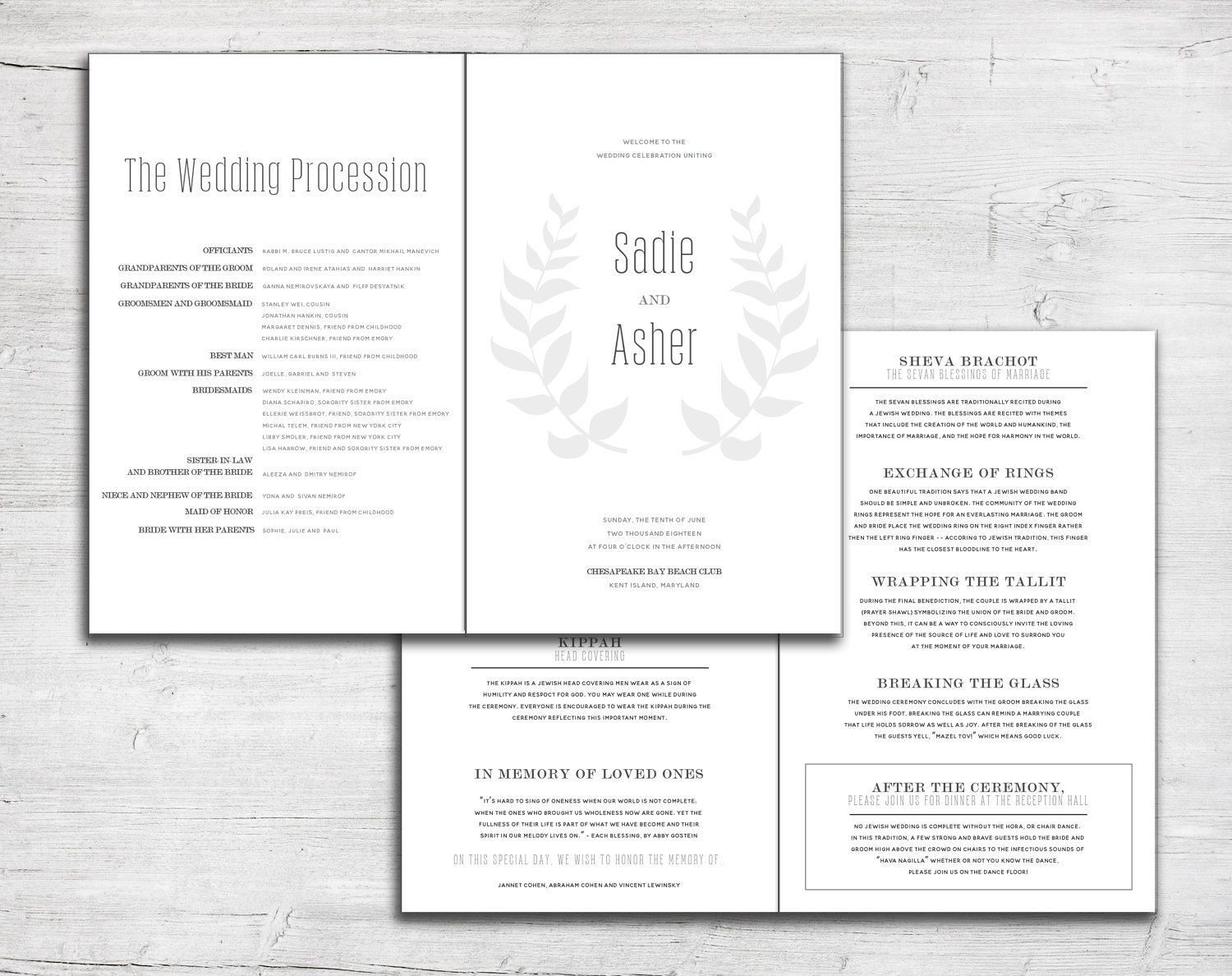 Leaf Folded Wedding Program For Jewish Marriage Ceremony