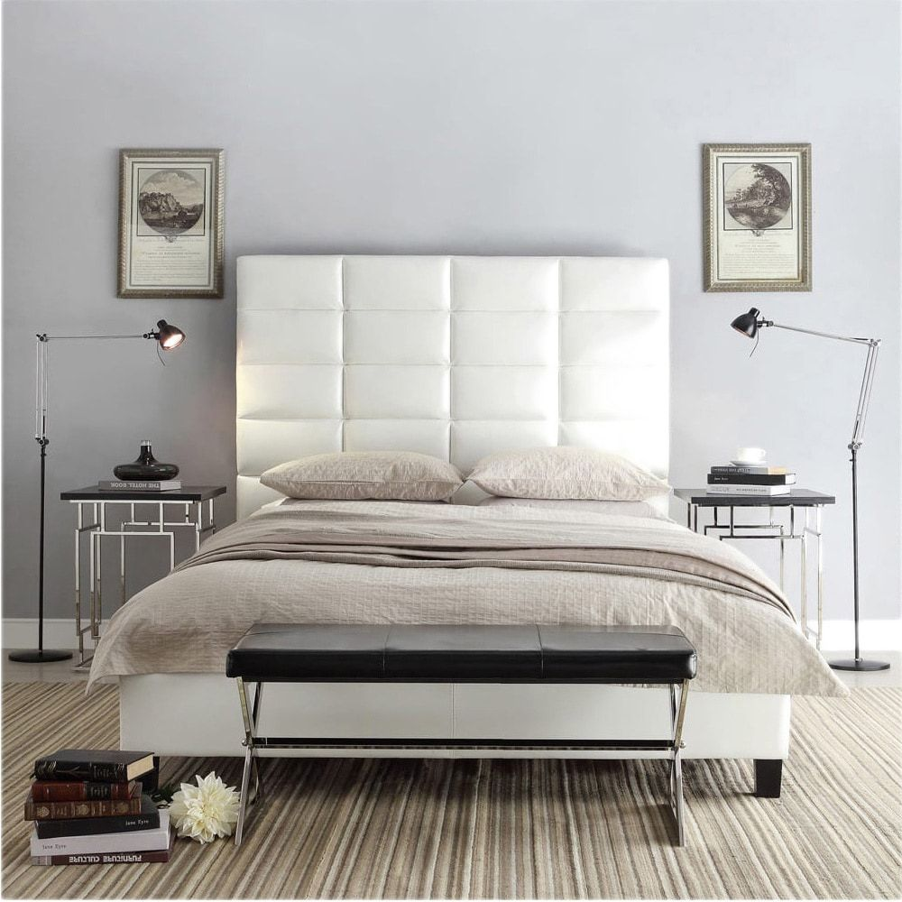 Tower High Profile Upholstered Queen Bed iNSPIRE Q Modern (Platform Bed-White  Bonded Leather