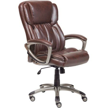 Serta Supple Bonded Leather Executive Office Chair Biscuit Brown