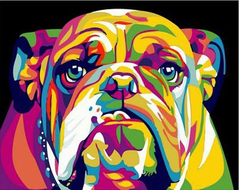 Abstract Bulldog Colorful Painting Artwork Paint By Numbers Kit DIY