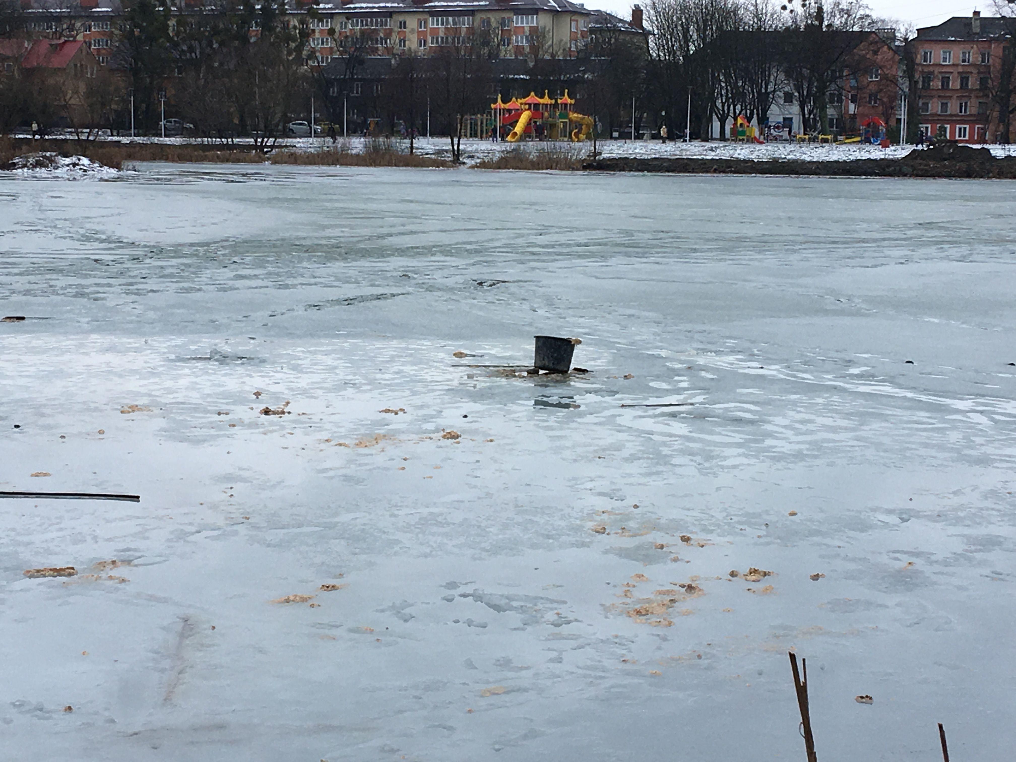 Мусор на льду озера