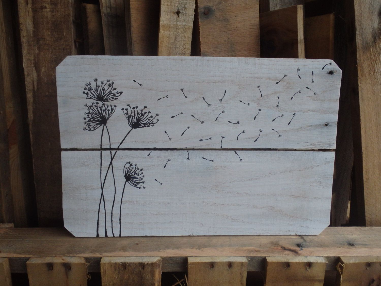 Dandelions pallet wood sign wall art country home rustic decor