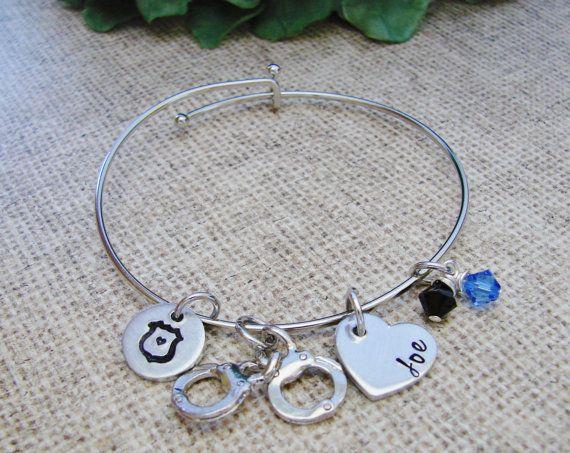 Deputy Badge Deputy Wife Bracelet Sheriff Jewelry Police Jewelry Hand Stamped LEO Wife Deputy Wife Gift Bangle Bracelet Police Wife