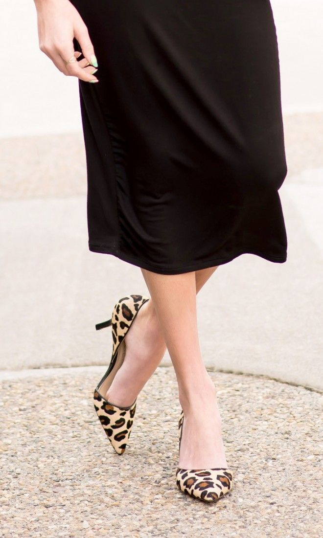 Leopard print d Orsay mid heel in leather   haircalf with a pointed toe and  ultra-walkable heel 7776053b12d6