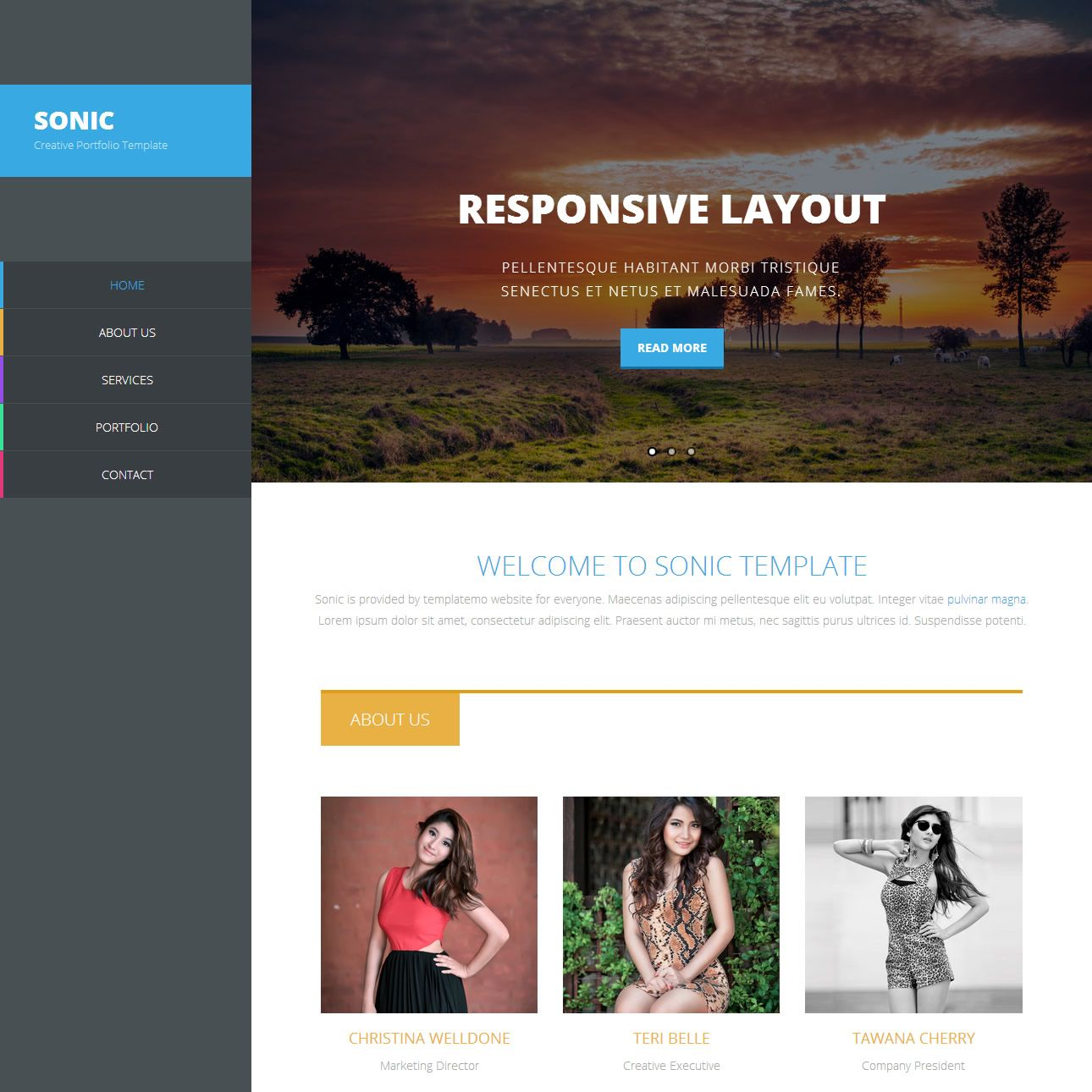 Sonic Is Free Responsive Template Bootstrap Version Homepage Uses Flexslider This Design Is Based On And Suitable For Creative Portfolio Showcase