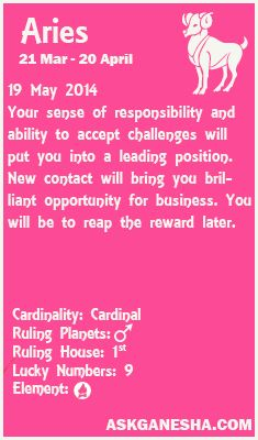 Aries Daily Horoscope For 19th May 2014 All About Aries Aries