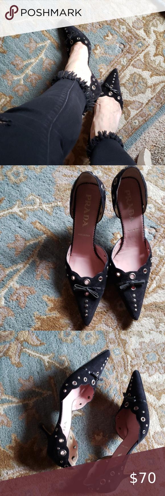Prada Suede Kitten Heels In 2020 Kitten Heels Shoes Women Heels Heels