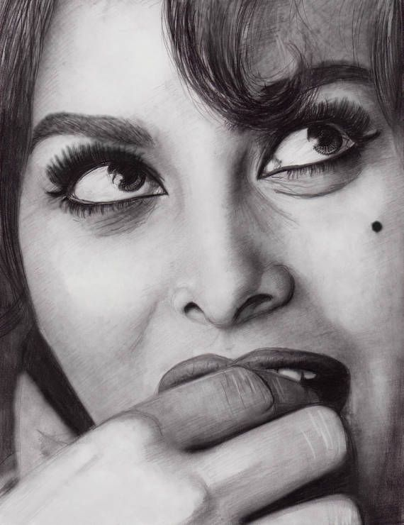 Sophia Loren Face Study 9x12 Products In 2019 Pinterest Sophia