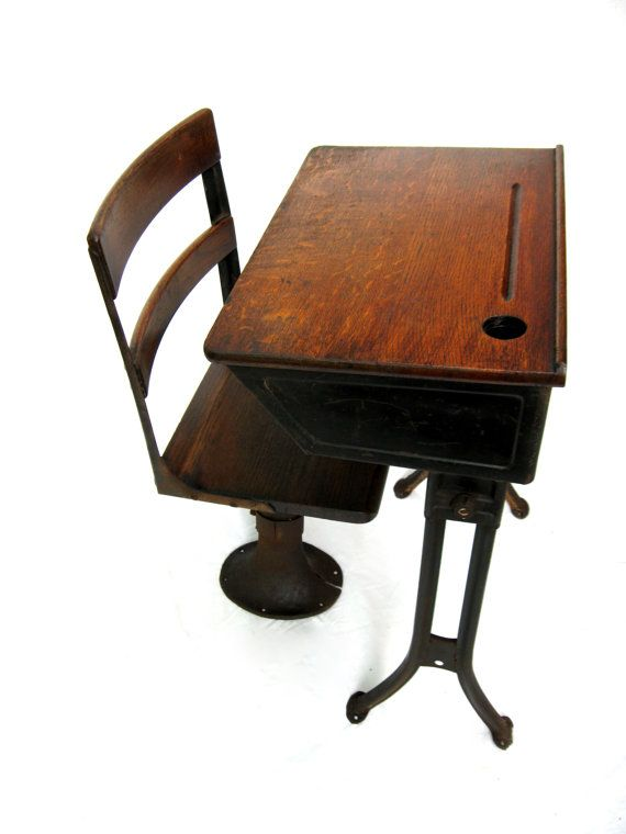 Antique School Desk Child's Desk with by RiverHouseDesigns on Etsy, $250.00 - Antique School Desk, Child's Desk With Separate Chair, Stand-Alone