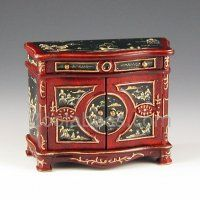Hand Painted Red Black Oriental Cabinet