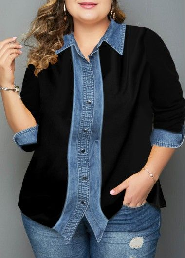Photo of Button Up Turndown Collar Plus Size Shirt