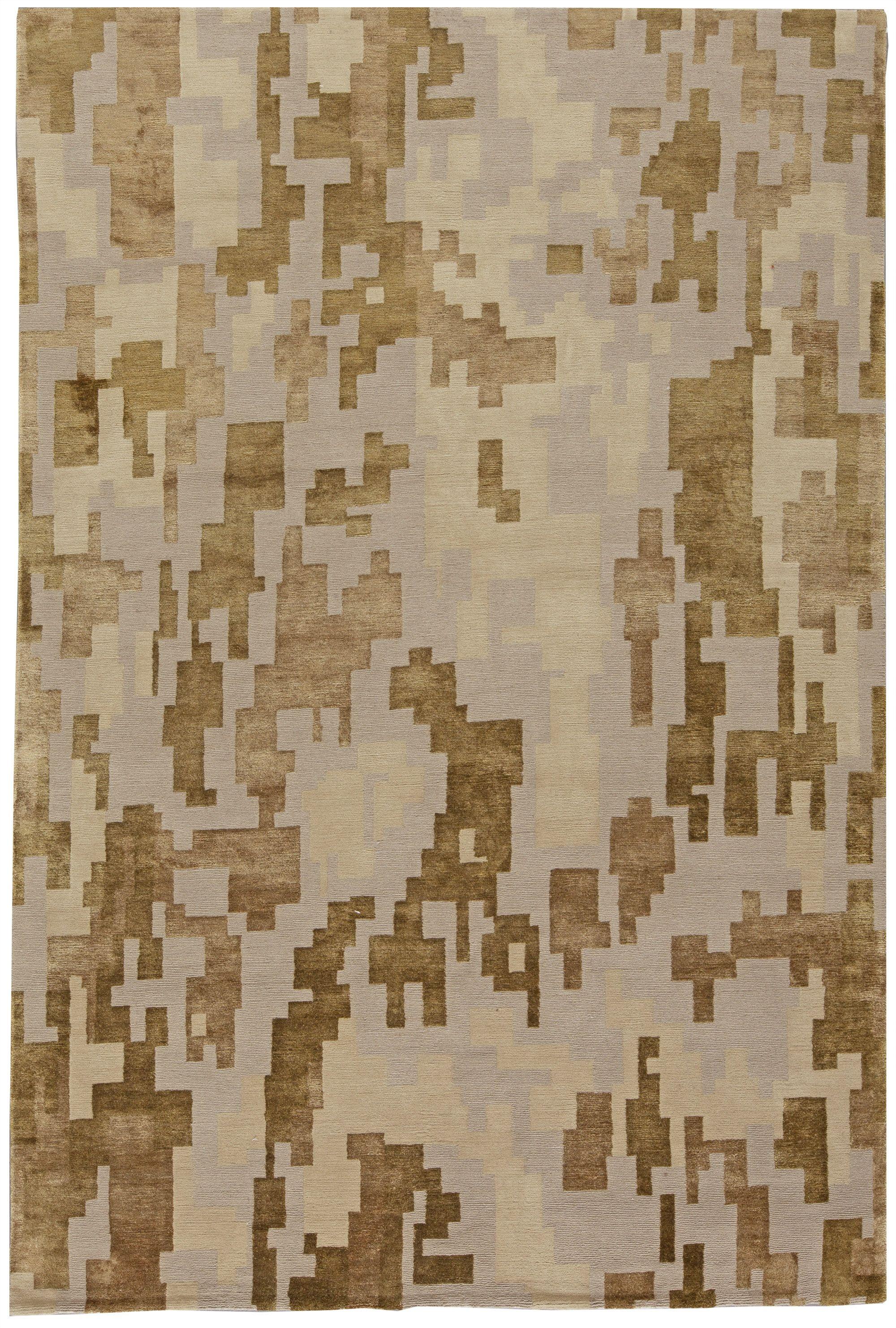 Arthur Dunnam Geometric Design Beige Golden Brown Wool Silk Rug N10755 By Dlb Rug Design Textured Carpet Carpet Sale