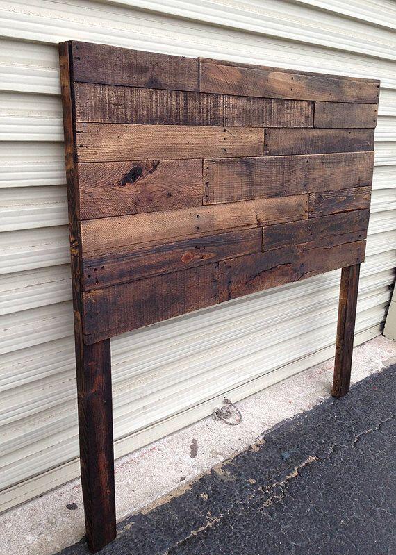 Pallet headboard dark walnut sale twin full queen king for Diy queen wood headboard