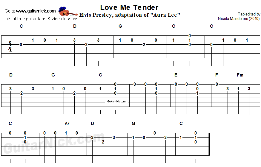 Love Me Tender Easy Song For Beginners Guitar Tab Video Lesson