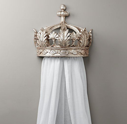 RH Baby u0026 Childu0027s Pewter Demilune Canopy Bed CrownA wall-mounted crown equipped with built-in drapery rods (and the drapery of her choice) transforms an ... & Demilune Pewter Crown Bed Canopy | Accents | Restoration Hardware ...
