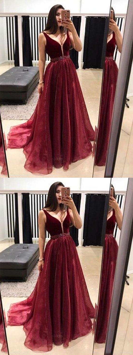 Gorgeous a line v neck backless organza and velvet burgundy long