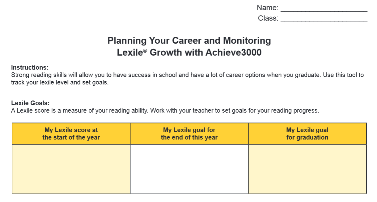 Worksheet For Students To Use With The Achieve3000 Career Center For Researching Selecting And Monitoring Their Career Options Reading Skills Career Resources [ 653 x 1220 Pixel ]
