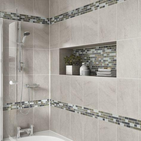 Modern bath with mosaic tile detail tub  shower also clean and sleek