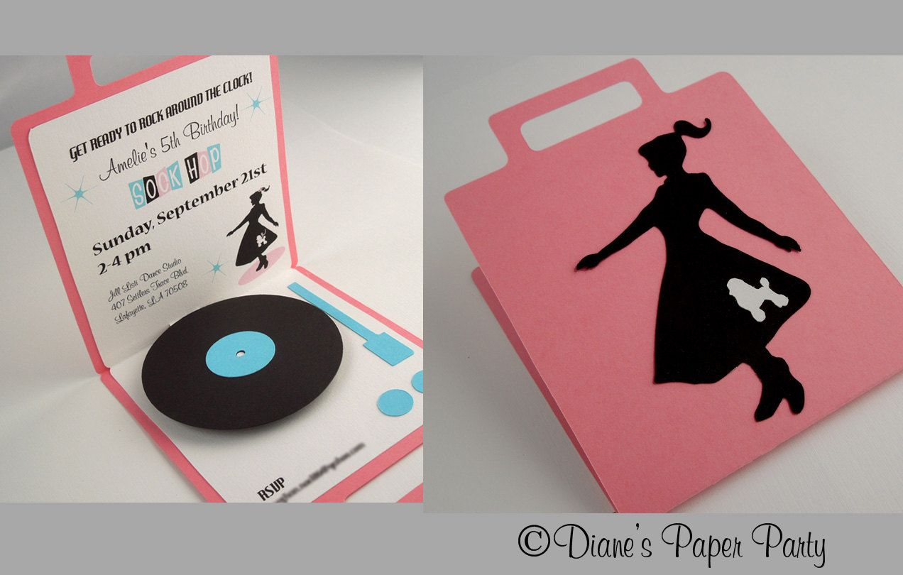 Sock Hop Birthday Invitation 1950s Diner Birthday